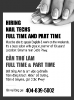 HIRING NAIL TECHS FULL TIME AND PART TIME