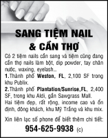 Sang Tiệm Nails và Cần Thợ Nails